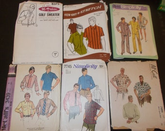Inventory 105 Vintage Sewing Patterns this is a Lot of 6 size 38 mens