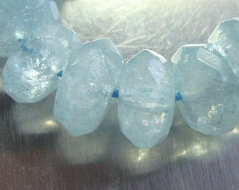"""3"""" strand, 18 beads, 9.5-10x4-5mm, ICY Blue Aquamarine Faceted Rondelle,  March BirthStone"""