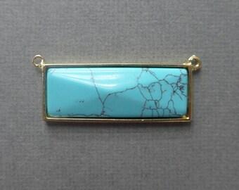 Turquoise Bar Pendant - Gold Bezel Rim - 2 connector rings - Horizontal pendant - 12x33mm