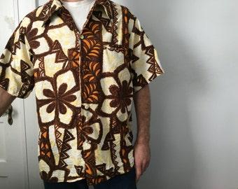 Batik Style Barkcloth Hawaiian Shirt