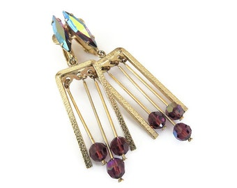 Lewis Segal Earrings, Modernist, MCM, Mid Century, Purple Rhinestone, Glass Beads, Dangle Earrings, Vintage Jewelry