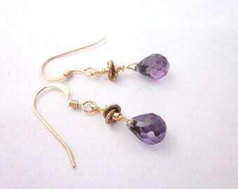 Gold & Purple Drop Earrings -- Small Purple Earrings -- Purple Sparkle Earrings -- CZ Bead Earrings -- Purple Cubic Zirconia Earrings