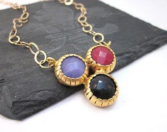 Gem & Gold Necklace -- 3 Gem Necklace -- Unique Gem Necklace -- Multi Gem Necklace -- Multi Color Pendant Necklace -- Gem Triangle Necklace
