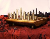 50 Caliber BMG Bullet Shell Chess Set - With solid locust log board- IN STOCK