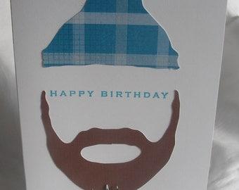 Birthday Card Beard and Lumberjack Hat Birthday Greeting Card