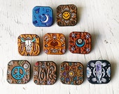 Pinback Brooch or Magnet - Handmade Tooled Leather Designs - Pick your favorite - painted southwestern, peace sign, smiley face, floral