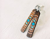 Moon Phases Leather Earrings - Long Tooled Turquoise and Chocolate Leather - Southwestern Celestial inspired jewelry - Made to Order