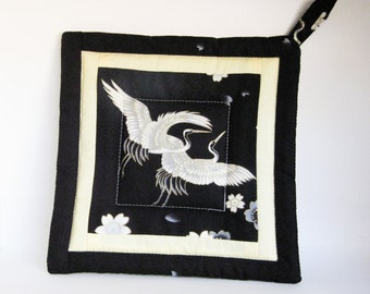 Black and White Japanese Crane Patterned Potholder