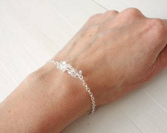 Chain bracelet rock crystal stones minimalist bracelet clear quartz stones gift for woman