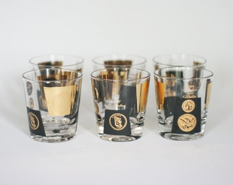 vintage lowball glasses with US coin motif in black and gold set of six