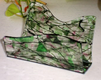 Fused Glass Business Card Holder -  Pinks and Greens 0914161