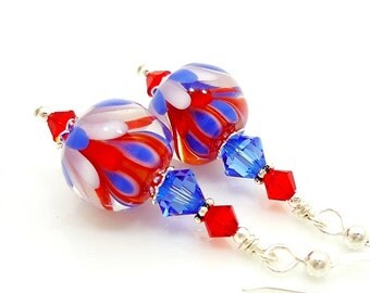Red White and Blue Earrings, Patriotic Earrings, Lampwork Earrings, Beadwork Earrings, Flag Earrings, Patriotic Jewelry