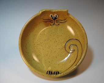 Speckled Yellow Cat Cartoon Bowl - Candy Dish - Server - Handmade NC pottery