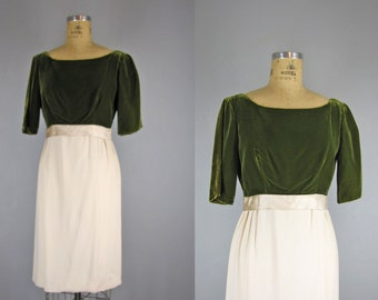 1960s Vintage Dress l 60s Olive Green and Ivory Dress