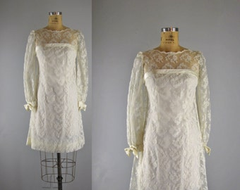 Vintage 1960s Lace Dress l 60s Mod Wedding Dress