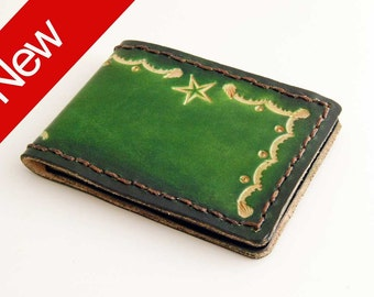Mini-Bifold Green, Hand Tooled, minimal wallet, green wallet, leather wallet green, mens wallets, wallets for men, green leather