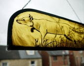Stained Glass, hand painted Sneaking Fox - perfect gift