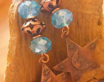 Blue Glass & Copper Moon Star Pierced Wire Earrings
