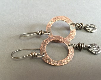 Rustic Halos -:- Copper rings with molten silver drops. Southwest flair earrings. Recycled silver