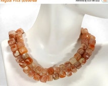 ON SALE Reserved - Sunstone 3D Cubes Faceted Box Beads Peach Salmon Copper Earth Mined - 4-Inch Strand - 18 Cubes - 7x6 to 8x7mm