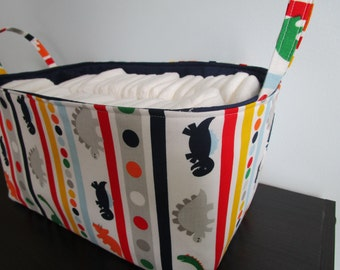 Large Diaper caddy, Fabric Basket, Organization Bin, Dinosarur fabric basket, Toy Storage Basket, decorative basket, Large Nursery Basket