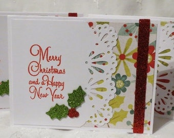 Merry Christmas and Happy New Year Handmade Card Set of Ten Clearance