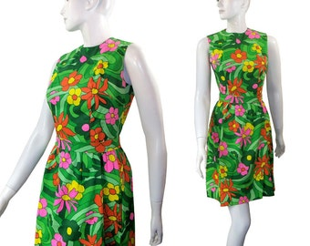 Vintage Lanz Original Party Dress, Groovy Flower Power Mini Dress Size Medium