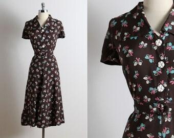 Vintage 40s Dress | 1940s vintage dress | novelty bow print dress large | 5657