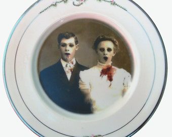 Zombie Love Portrait Plate - Altered Vintage Plate 8.3""