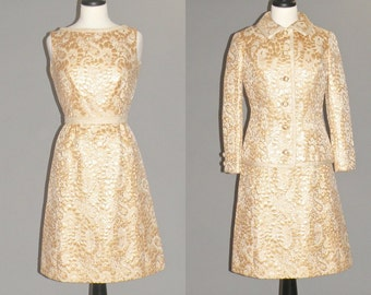 Vintage 1960s Metallic Gold Cocktail Dress and Jacket, 60s Dress Set, Mad Men Party, Sandra Sage Medium