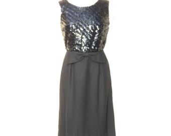 1960s Cocktail Dress, 60s Dress, Black Sequin 1960s Party Dress Large