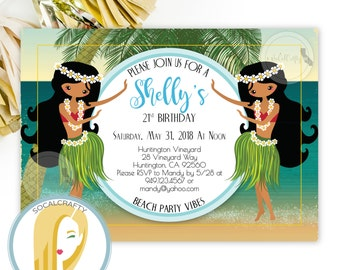 Luau Birthday Party Invitation, Hula Girl, Hawaii Invite, Topical, Beach Party, DIY, Printed or Printable Invitations, Free Shipping