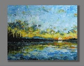 """Sunset Original Acrylic Painting Landscape Abstract Decorative Arts Home Decor Wall Decor Wall Hangings Gift 8""""x10"""" Wall Art"""