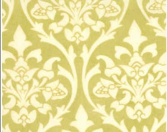 Remnant - Fig & Plum fabric - fig tree quilts - green scrollwork - OOP VHTF