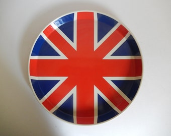 Vintage 1970's United Kingdom Union Flag / Union Jack Metal Serving Tray by Ducor - Made in England