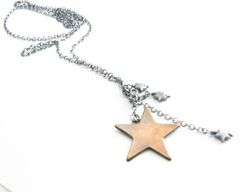 Sterling Silver Chain and Copper Star Lariat Necklace Handmade Star Spangled Necklace BooBeads Jewelry Lariat Necklace