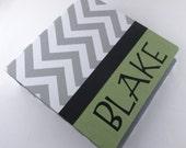 Modern Baby Book - Green and Gray Chevron- boy memory album, pregnancy journal
