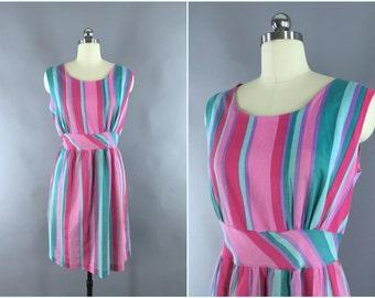 Vintage 1970s Dress / 70s Sundress / 1970 Cotton Dress / Pink and Green Stripes / Day Dress