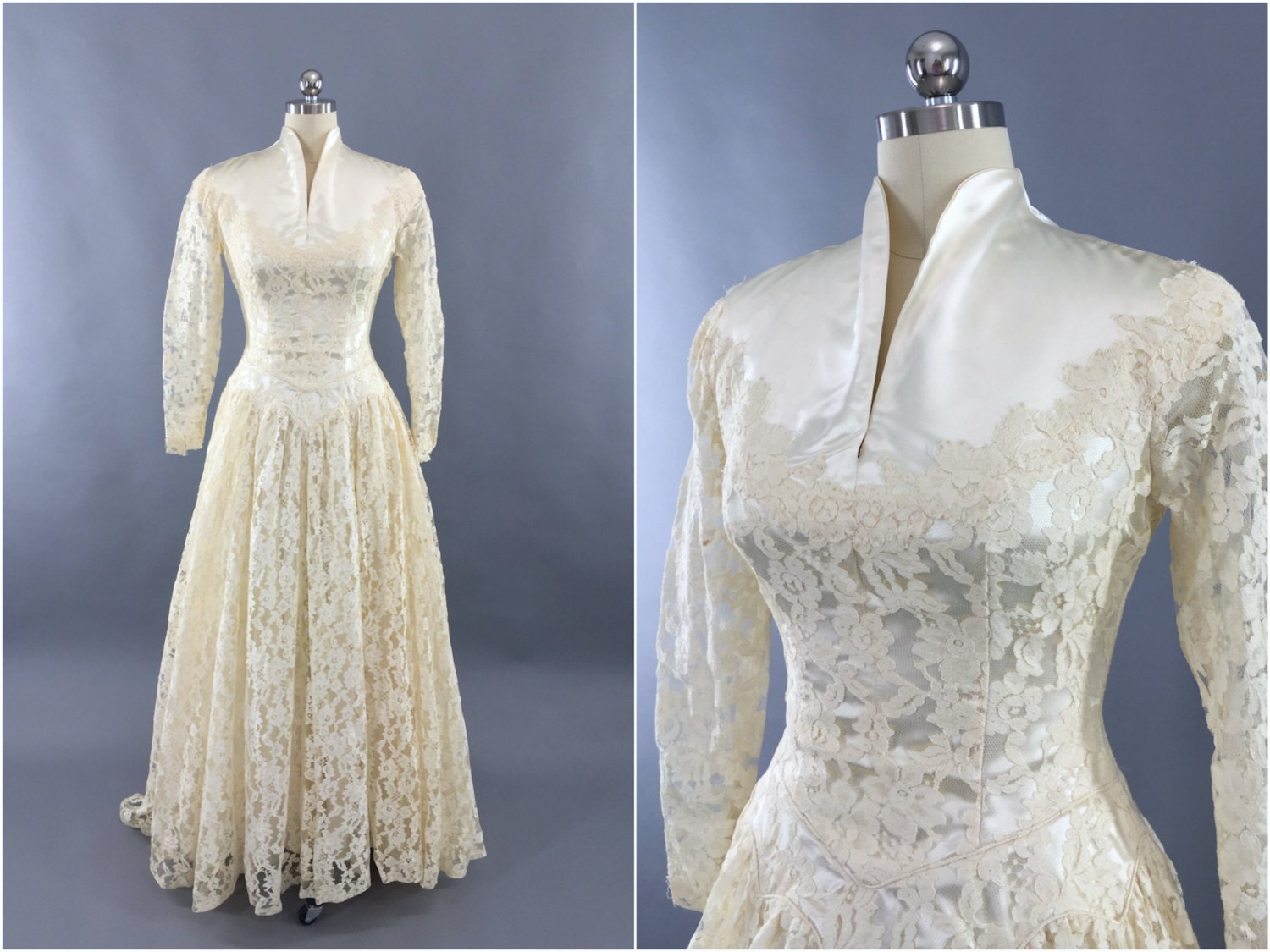 Vintage 1950s Wedding Dress / Ivory Lace Wedding Gown / 50s
