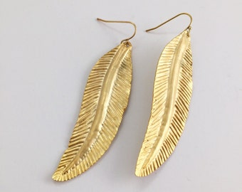 Leaf Statement Earrings, Gold Earrings, Gold Statement Earrings