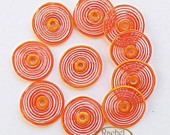 Orange Glass Disc Beads, FREE SHIPPING,Set of Handmade Lampwork Spiral Beads - Rachelcartglass