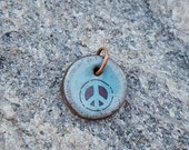 PEACE charm handmade ceramic pendant bead green blue brown Flower Child Boho Charm Hippie Gift