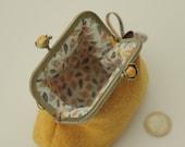 NEW Bronze metal frame coin purse/ yellow pearls / Yellow Harris tweed/ Liberty tana lawn