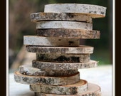 Birch Wood Rounds set of 12-Table setting numbers-Place Card Holders-Coasters