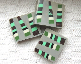 Stripey Burmese Woods in Shea Butter and Glycerin Vegan Soap