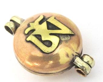 1 Pendant - Tibetan double dorje Om mantra reversible prayer box copper tone brass pendant - PM438F