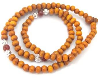 108 brown color wooden mala Bead supplies with Guru Bead - 6 mm size mala making beads - ML054
