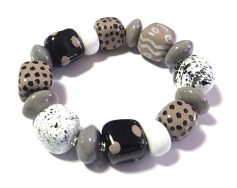 Kazuri Bangle, Grey Black and White Ceramic Bracelet