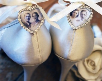 Rhinestone heart Photo Charm, Photo shoe charm, Memorial Photo Shoe clips, Bridal Shoe Charm,Wedding Shoe Photo Charms,