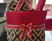 Quilted Pink and Grey Chevron Monogrammed Diaper Bag Changing Pad Zippered bag 3 piece set